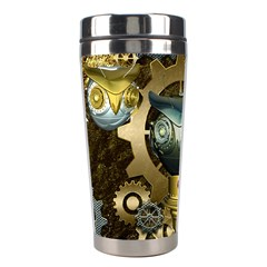 Steampunk, Awesome Owls With Clocks And Gears Stainless Steel Travel Tumblers by FantasyWorld7