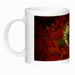 Steampunk, Wonderful Heart With Clocks And Gears On Red Background Night Luminous Mugs by FantasyWorld7