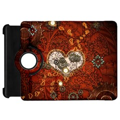 Steampunk, Wonderful Heart With Clocks And Gears On Red Background Kindle Fire HD Flip 360 Case by FantasyWorld7