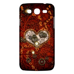Steampunk, Wonderful Heart With Clocks And Gears On Red Background Samsung Galaxy Mega 5 8 I9152 Hardshell Case  by FantasyWorld7