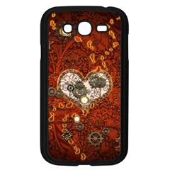Steampunk, Wonderful Heart With Clocks And Gears On Red Background Samsung Galaxy Grand DUOS I9082 Case (Black) by FantasyWorld7