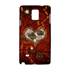 Steampunk, Wonderful Heart With Clocks And Gears On Red Background Samsung Galaxy Note 4 Hardshell Case by FantasyWorld7