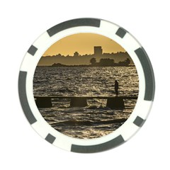 River Plater River Scene At Montevideo Poker Chip Card Guards by dflcprints
