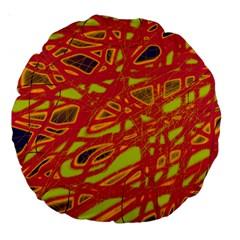 Orange Neon Large 18  Premium Round Cushions by Valentinaart
