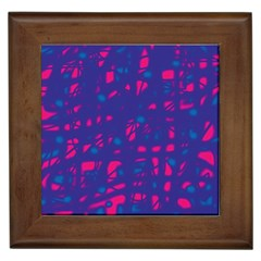 Blue and pink neon Framed Tiles by Valentinaart