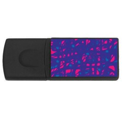 Blue And Pink Neon Usb Flash Drive Rectangular (4 Gb)  by Valentinaart