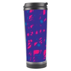 Blue And Pink Neon Travel Tumbler by Valentinaart