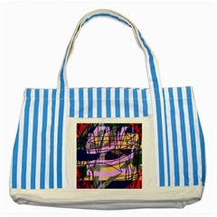 Abstract High Art By Moma Striped Blue Tote Bag by Valentinaart