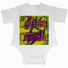 Yellow high art abstraction Infant Creepers