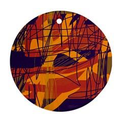 Orange High Art Ornament (round)  by Valentinaart