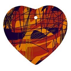 Orange High Art Heart Ornament (2 Sides) by Valentinaart