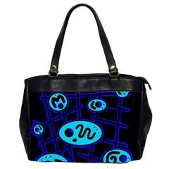 Blue Decorative Design Office Handbags (2 Sides)  by Valentinaart