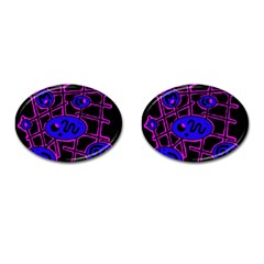 Blue and magenta abstraction Cufflinks (Oval)