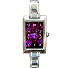Purple And Red Abstraction Rectangle Italian Charm Watch by Valentinaart
