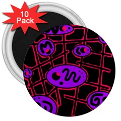 Purple And Red Abstraction 3  Magnets (10 Pack)  by Valentinaart