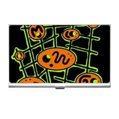 Orange And Green Abstraction Business Card Holders by Valentinaart