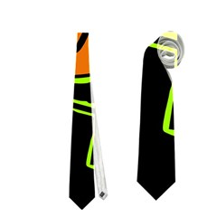 Orange And Green Abstraction Neckties (two Side)  by Valentinaart