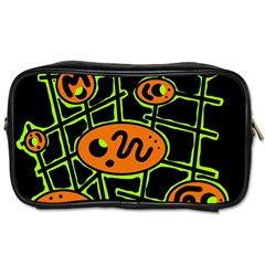 Orange And Green Abstraction Toiletries Bags by Valentinaart