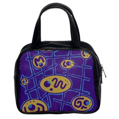 Purple And Yellow Abstraction Classic Handbags (2 Sides) by Valentinaart