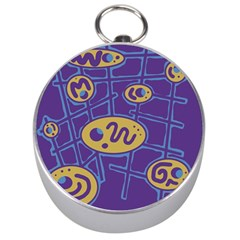 Purple And Yellow Abstraction Silver Compasses by Valentinaart