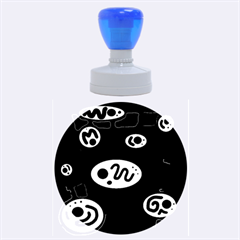Black And White Crazy Abstraction  Rubber Round Stamps (large) by Valentinaart