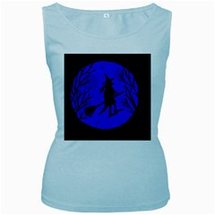 Halloween Witch   Blue Moon Women s Baby Blue Tank Top by Valentinaart