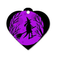 Halloween Witch   Purple Moon Dog Tag Heart (one Side) by Valentinaart