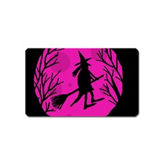 Halloween Witch   Pink Moon Magnet (name Card) by Valentinaart