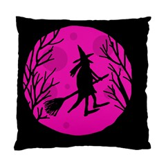 Halloween Witch   Pink Moon Standard Cushion Case (one Side) by Valentinaart