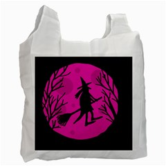 Halloween Witch   Pink Moon Recycle Bag (one Side) by Valentinaart