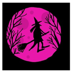 Halloween Witch   Pink Moon Large Satin Scarf (square) by Valentinaart
