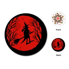 Halloween Witch   Red Moon Playing Cards (round)  by Valentinaart