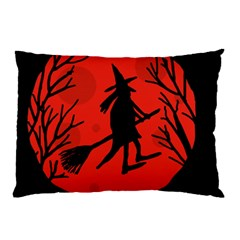 Halloween Witch   Red Moon Pillow Case by Valentinaart