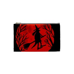Halloween Witch   Red Moon Cosmetic Bag (small)  by Valentinaart