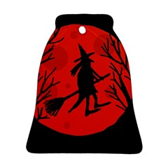 Halloween Witch   Red Moon Bell Ornament (2 Sides) by Valentinaart