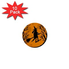 Halloween Witch   Orange Moon 1  Mini Buttons (10 Pack)  by Valentinaart