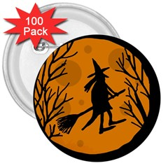 Halloween Witch   Orange Moon 3  Buttons (100 Pack)  by Valentinaart