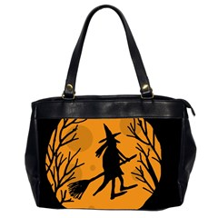 Halloween Witch   Orange Moon Office Handbags (2 Sides)  by Valentinaart
