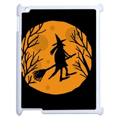 Halloween Witch   Orange Moon Apple Ipad 2 Case (white) by Valentinaart