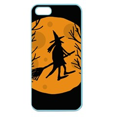 Halloween Witch   Orange Moon Apple Seamless Iphone 5 Case (color) by Valentinaart