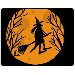 Halloween witch - orange moon Double Sided Fleece Blanket (Medium)  by Valentinaart