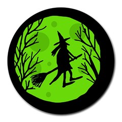 Halloween Witch   Green Moon Round Mousepads by Valentinaart