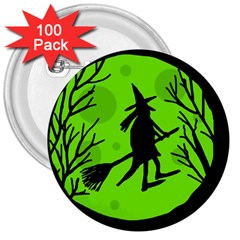 Halloween Witch   Green Moon 3  Buttons (100 Pack)  by Valentinaart
