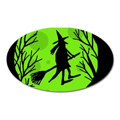 Halloween Witch   Green Moon Oval Magnet by Valentinaart