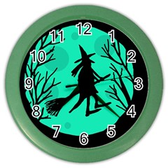 Halloween Witch   Cyan Moon Color Wall Clocks by Valentinaart