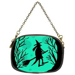Halloween Witch   Cyan Moon Chain Purses (one Side)  by Valentinaart