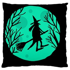 Halloween Witch   Cyan Moon Large Cushion Case (two Sides) by Valentinaart