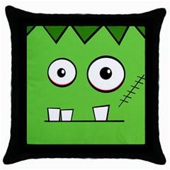 Halloween Frankenstein - green Throw Pillow Case (Black)