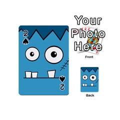 Halloween Frankenstein   Blue Playing Cards 54 (mini)  by Valentinaart