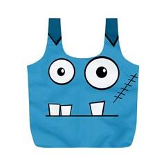 Halloween Frankenstein   Blue Full Print Recycle Bags (m)  by Valentinaart